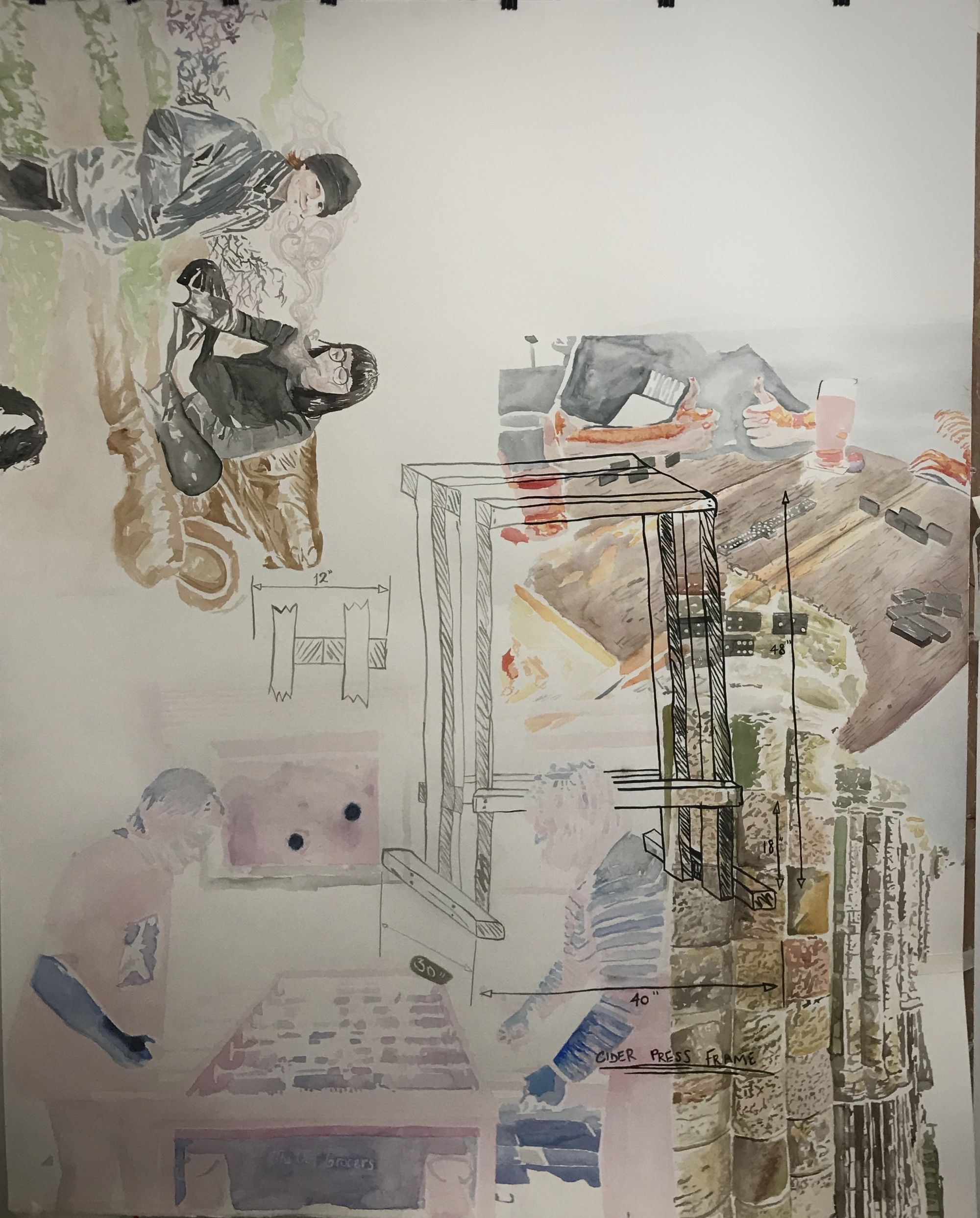 'The Old Grocers', watercolour and ink on paper, [152.4 x 121.92 cm] (2020).