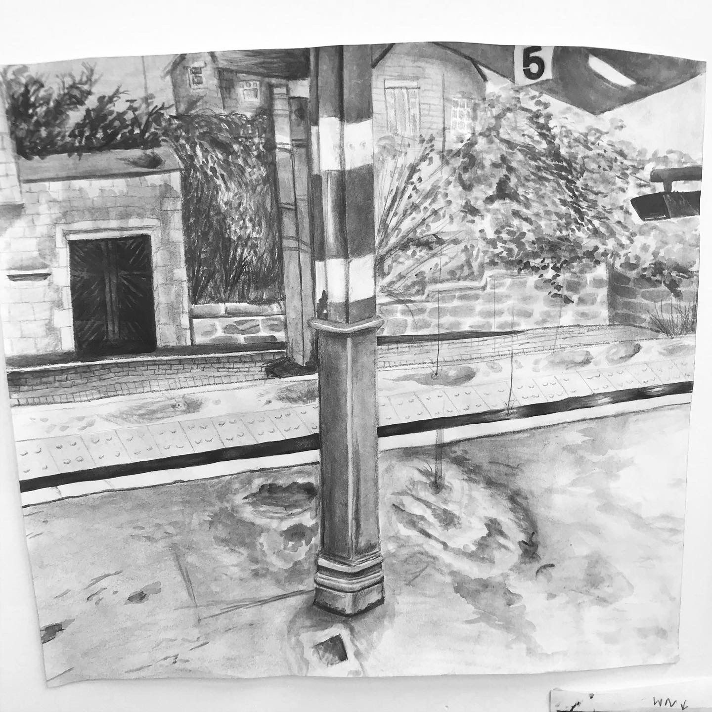 'Lancaster Station', water-soluble graphite on paper, [21 x 29.7cm] (2019).