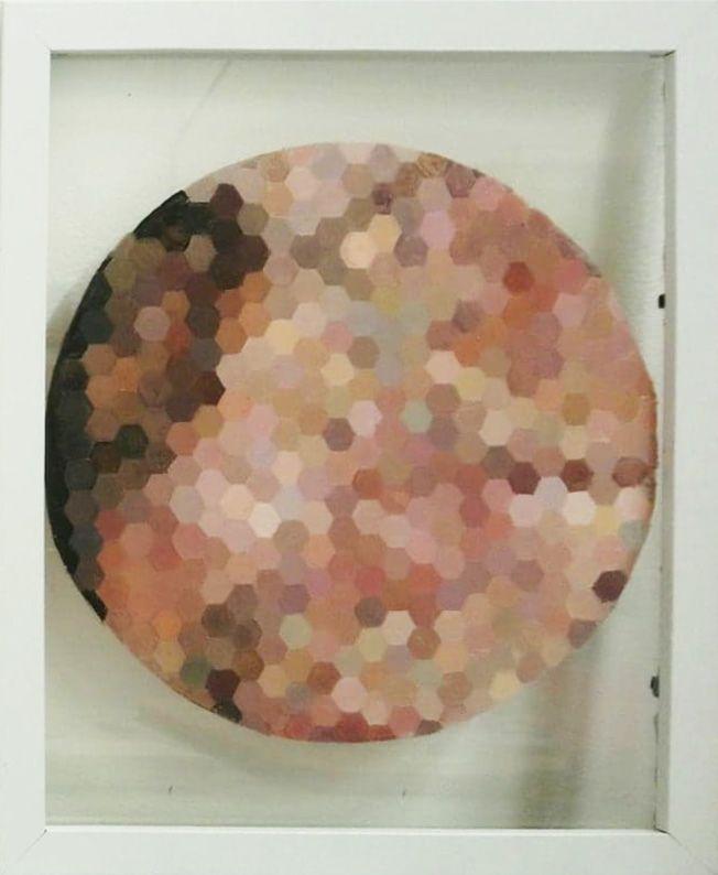 Mosaic Triptych, 2018, Acrylic on glass